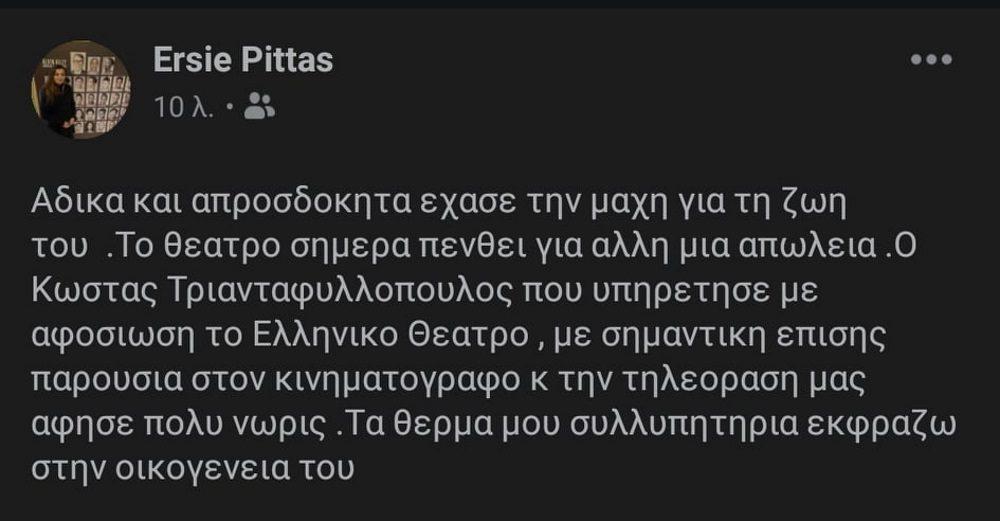 Ανάρτηση Έρση Πήττα - Κώστας Τριανταφυλλόπουλος