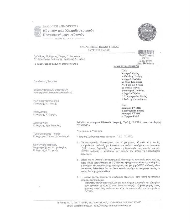 Ιατρική Σχολή Αθηνών - έγγραφο